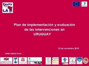 Plan de implementacin y evaluacin de las intervenciones