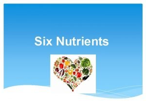 Six Nutrients Words to Know NUTRITION is the