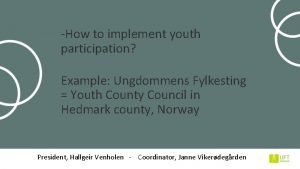 How to implement youth participation Example Ungdommens Fylkesting