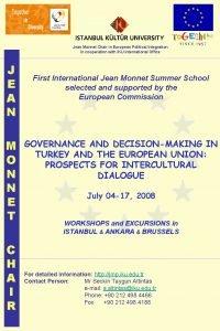 Jean Monnet Chair in European Political Integration in
