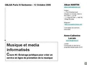CELSA Paris IV Sorbonne 12 Octobre 2006 Alban