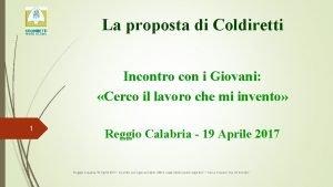 La proposta di Coldiretti Incontro con i Giovani
