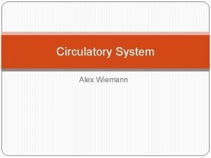 Circulatory System Alex Wiemann Circulatory System The human