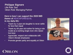 Philippe Signore Life Role Dad Oblon Role Managing