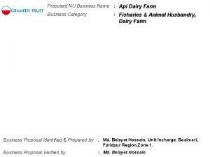 Proposed NU Business Name Api Dairy Farm Business