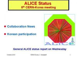 ALICE Status 8 th CERNKorea meeting l Collaboration