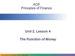 AOF Principles of Finance Unit 2 Lesson 4