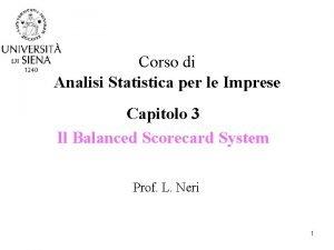 Corso di Analisi Statistica per le Imprese Capitolo