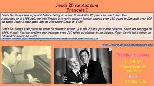 Jeudi 20 septembre Franais I Louis De Funs