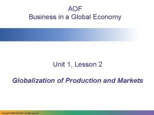 AOF Business in a Global Economy Unit 1