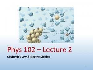 Phys 102 Lecture 2 Coulombs Law Electric Dipoles