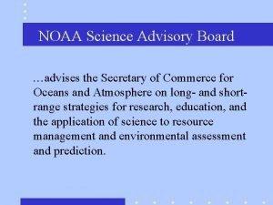 NOAA Science Advisory Board advises the Secretary of