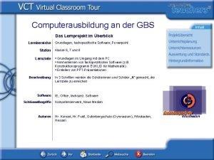 Computerausbildung an der GBS Das Lernprojekt im berblick