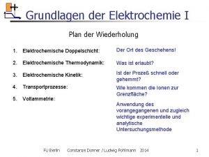 Grundlagen der Elektrochemie I Plan der Wiederholung 1
