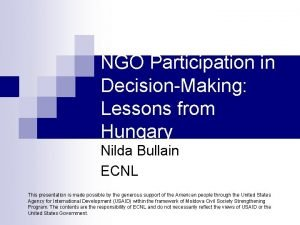 NGO Participation in DecisionMaking Lessons from Hungary Nilda