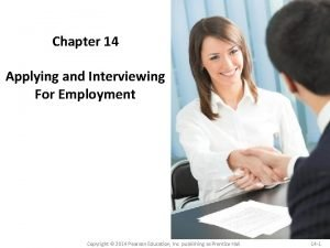 Chapter 14 Applying and Interviewing For Employment Copyright