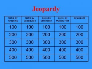 Jeopardy Solve By Graphing Solve by Substitution Solve