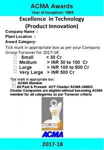 ACMA Awards 2017 18 Excellence in Technology Product