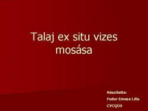 Talaj ex situ vizes mossa Ksztette Fodor Emese