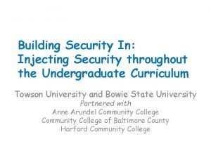Building Security In Injecting Security throughout the Undergraduate