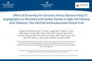 Main Effect of Screening for Coronary Artery Disease