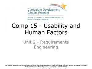 Comp 15 Usability and Human Factors Unit 2