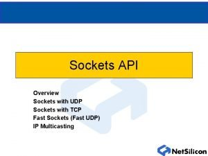 Sockets API Overview Sockets with UDP Sockets with