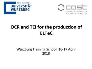 OCR and TEI for the production of ELTe