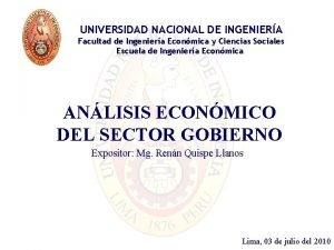 UNIVERSIDAD NACIONAL DE INGENIERA Facultad de Ingeniera Econmica