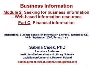 Business Information Module 2 Seeking for business information