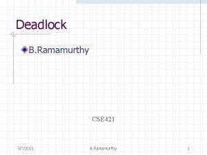 Deadlock B Ramamurthy CSE 421 372021 B Ramamurthy