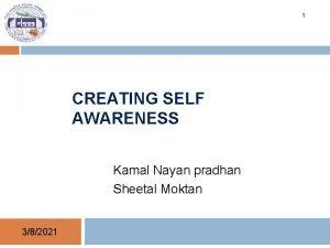 1 CREATING SELF AWARENESS Kamal Nayan pradhan Sheetal