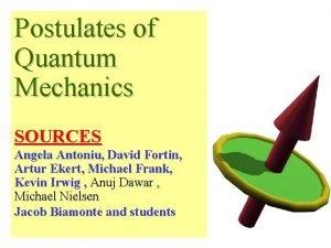 Postulates of Quantum Mechanics SOURCES Angela Antoniu David