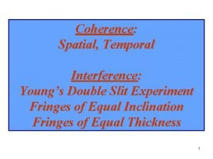 Coherence Spatial Temporal Interference Youngs Double Slit Experiment
