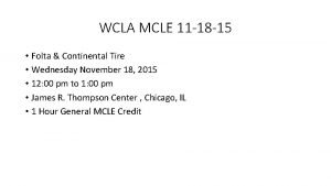 WCLA MCLE 11 18 15 Folta Continental Tire