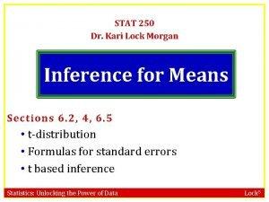 STAT 250 Dr Kari Lock Morgan Inference for