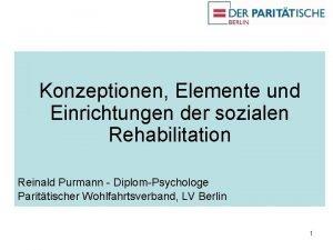 Konzeptionen Elemente und Einrichtungen der sozialen Rehabilitation Reinald