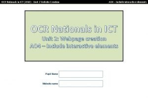 OCR Nationals in ICT 2010 Unit 2 Website