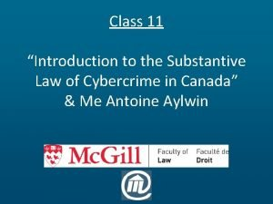Class 11 Introduction to the Substantive Law of