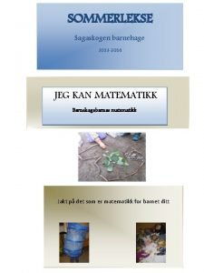SOMMERLEKSE Sagaskogen barnehage 2013 2014 JEG KAN MATEMATIKK