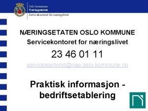 Oslo kommune Nringsetaten Servicekontoret for nringslivet NRINGSETATEN OSLO