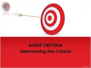 AUDIT CRITERIA Determining the Criteria Lesson Objectives Developing