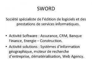 SWORD Socit spcialiste de ldition de logiciels et