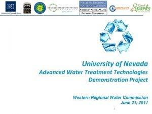 University of Nevada Advanced Water Treatment Technologies Demonstration