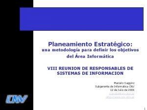 Planeamiento Estratgico una metodologa para definir los objetivos