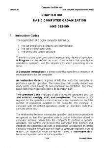 Computer Architecture Chapter Six Basic Computer Organization and