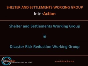 SHELTER AND SETTLEMENTS WORKING GROUP Inter Action Shelter