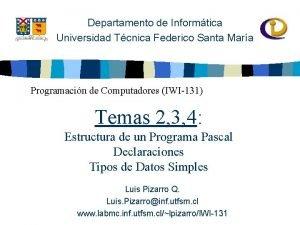 Departamento de Informtica Universidad Tcnica Federico Santa Mara