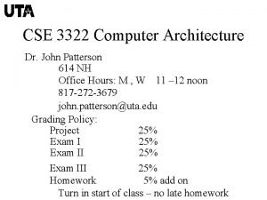 CSE 3322 Computer Architecture Dr John Patterson 614