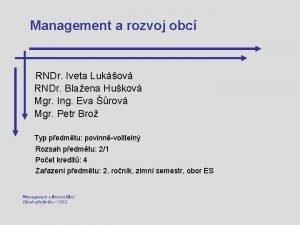 Management a rozvoj obc RNDr Iveta Lukov RNDr